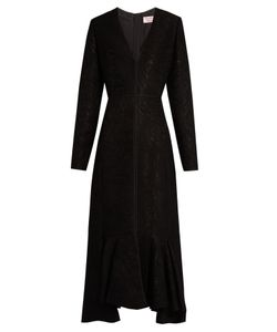 Lanvin | V-Neck Wool-Blend Moiré Dress