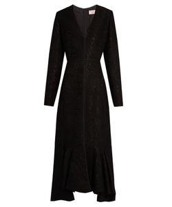 Lanvin   V-Neck Wool-Blend Moiré Dress