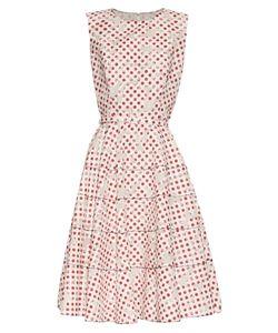 Oscar de la Renta | Polka-Dot Print Floral-Devoré A-Line Dress
