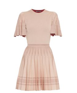 Alexander McQueen | Pleated A-Line Intarsia-Knit Mini Dress