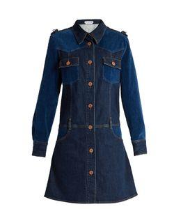 See by Chloé | Velvet-Panel Long-Sleeved Denim Dress
