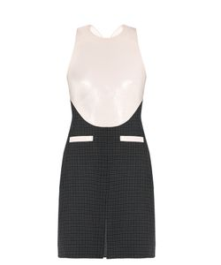 Courrèges | Faux-Leather Bodice And Hounds-Tooth Wool Dress