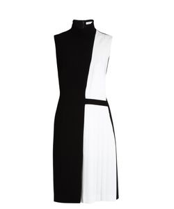 Mugler | High-Neck Pleated-Panel Cady Dress