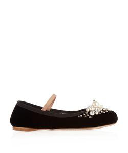Miu Miu | Pearl-Embellished Velvet Flats