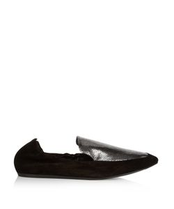 Lanvin | Metallic-Leather And Suede Loafers