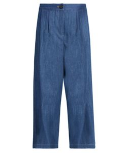 Adam Lippes   Pleated-Front Wide-Leg Cropped Jeans