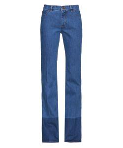 Valentino | Contrast-Hem High-Rise Straight-Leg Jeans