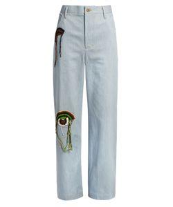 WALES BONNER | Nehisi Crochet-Appliqué Wide-Leg Jeans