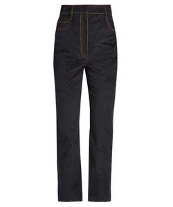Isa Arfen | Velvet-Touch Denim Straight-Leg Cropped Jeans