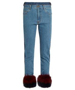 Muveil | Fur-Panel Mid-Rise Slim-Leg Jeans