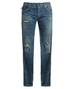 Balmain | Distressed Slim-Leg Denim Jeans