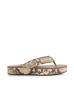 Newbark | Beatrice Thong-Strap Snake-Effect Sandals