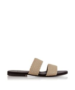 Newbark   Roma Iv Raffia And Suede Sandals