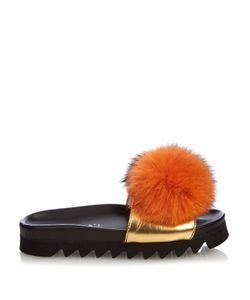 Joshua Sanders | Fur-Pompom Platform Slides