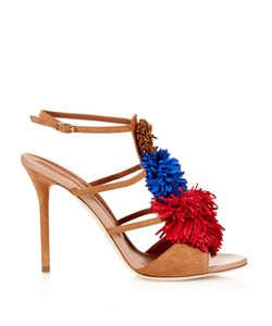 Malone Souliers | Sherry Fringed-Pompom Suede Sandals
