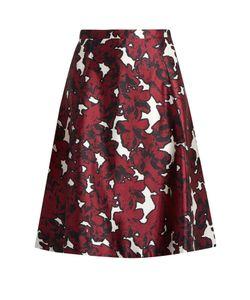 Oscar de la Renta | Floral-Print Silk-Mikado Skirt