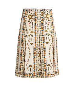 Alexander McQueen | Obsession-Print Pleated Skirt