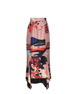 Juan Carlos Obando | Venus-Print Contrast-Back Silk Skirt