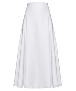 Adam Lippes | Frayed-Hem Linen-Blend A-Line Skirt