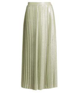 Adam Lippes | Metallic Pleated Wraparound Maxi Skirt