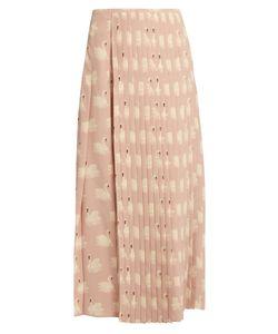 Stella McCartney | Swan-Print Pleated Silk Midi Skirt