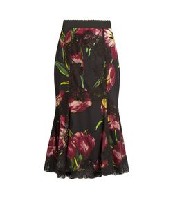 Dolce & Gabbana | Tulip-Print Lace-Panelled Silk-Blend Skirt