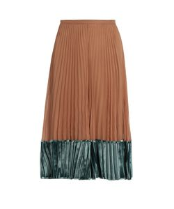 Valentino | Velvet-Panel Pleated Silk-Georgette Midi Skirt