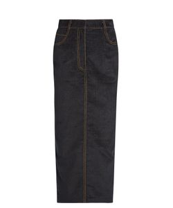 Isa Arfen | Velvet-Touch Denim Pencil Skirt
