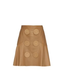 Givenchy | Oversized Buttons Leather Peplum Skirt