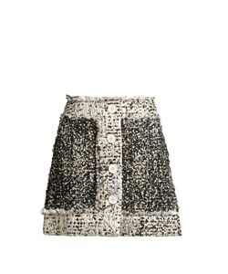 Christopher Kane | Button-Front Lamé-Tweed Mini Skirt