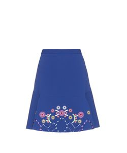 Peter Pilotto | Geometric-Embroidered Fluted Cady Mini Skirt