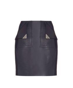 Mugler | Front-Pocket Leather Mini Skirt