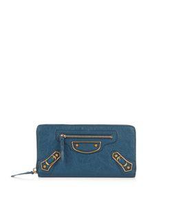 Balenciaga | Metallic Edge Zip-Around Leather Wallet