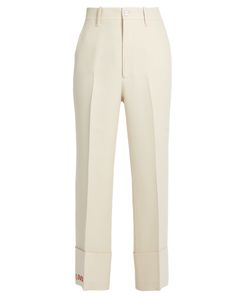 Gucci | Embroidered-Detail Wide-Leg Wool-Blend Trousers