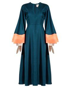 Roksanda | Henning V-Neck Fluted Satin Midi Dress