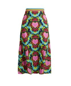House Of Holland | A-Line Heart-Print Crepe Midi Skirt