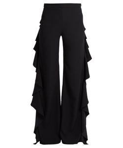 Sara Battaglia | High-Rise Flared Cady Trousers