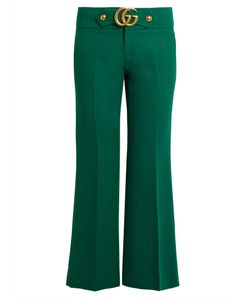 Gucci | Gg Wool And Silk-Blend Cady Kick-Flare Trousers