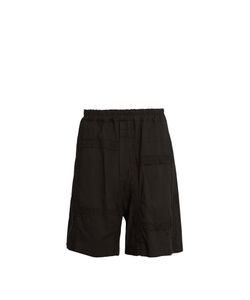 By Walid | Padre Embroidered-Panel Antique-Cotton Shorts
