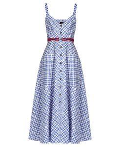Saloni | Fara Sleeveless Stretch-Cotton Gingham Midi Dress