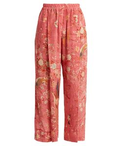 By Walid | Palazzo Pleated Bird-Print Silk Trousers