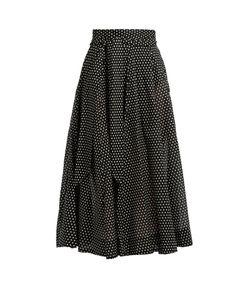 Lisa Marie Fernandez | Polka-Dot Print Semi-Sheer Cotton-Voile Skirt