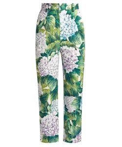 Dolce & Gabbana | Hydrangea-Print Slim-Leg Cropped Trousers