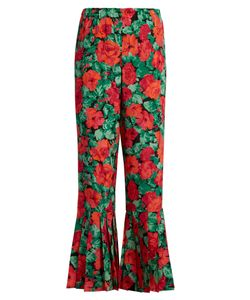 Gucci | -Print Pleated-Hem Silk Trousers