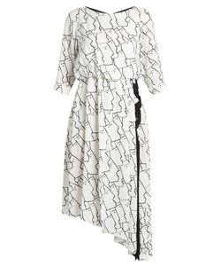 Osman | Gigi Face-Print Asymmetric Crepe Dress