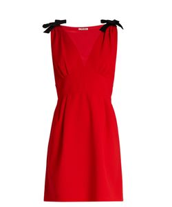 Miu Miu | Deep V-Neck Sleeveless Cady Mini Dress