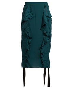 Marco de Vincenzo   Ruched Ruffle-Trimmed Satin Pencil Skirt