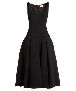 Sara Battaglia | Full-Skirt Drop-Waist Midi Dress