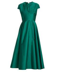 Rochas | Capped-Sleeve Duchess-Satin Dress