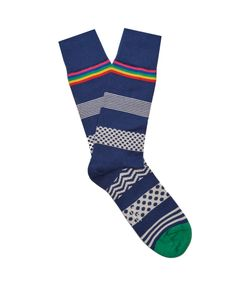 Paul Smith | Polka-Dot Striped Cotton-Blend Socks